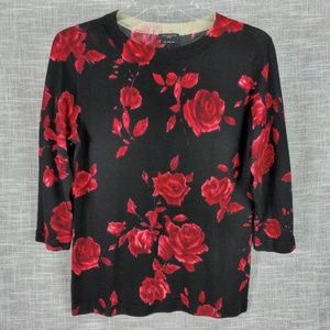 Talbots Petites Merino Wool Sweater SP Small Roses